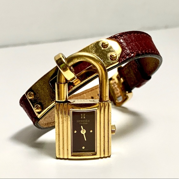 Hermes Vintage Kelly Watch 18K Gold Plate Leather